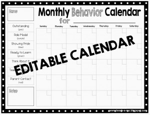 monthly behavior calendar template clip charts and pbis behavior management teach a roo